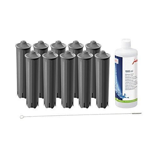 Jura Claris White Filterpatrone von 10x Smart QUVIDO DVD + Jura Milchschaum Reiniger für Düsen-1000ml + Reinigungsbürste