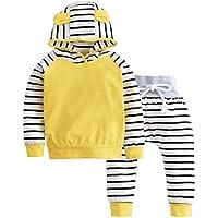 Minzhi 2ST Kleidung Set-Kleinkind-Baby-Outfits Langarm-Sweatshirt mit Kapuze Straps