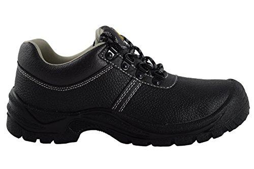 ASKEL Damen und Herren Arbeits- und Sicherheitsschuh, Leder schwarz, EN ISO 20345:2011 S1 P, Größe 43