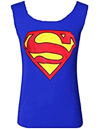 Mix lot des nouvelles femmes dames dos nageur Superman Imprimé bleu royal crème Vest Top réservoir extensible Superhero Taille 36-42