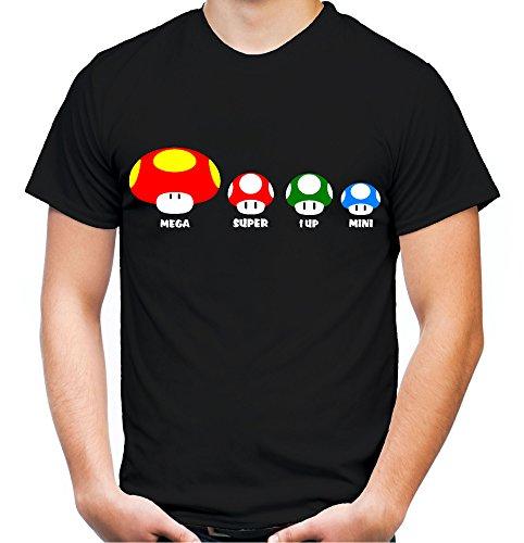 Mushroom Family Männer und Herren T-Shirt   Super Kult Mario Nintendo (S, Schwarz)