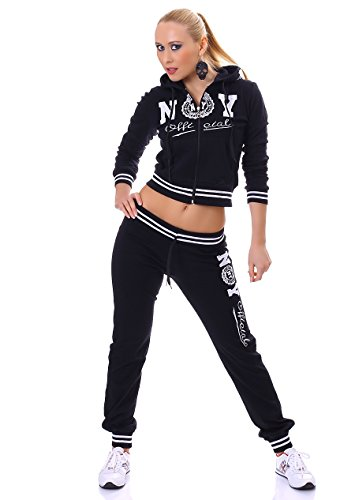 Damen Jogginganzug Laufanzug Sportanzug Fitnessanzug Zweiteiler Jogginghose + Kapuzenjacke Sweathose Sweatjacke schwarz Schwarz