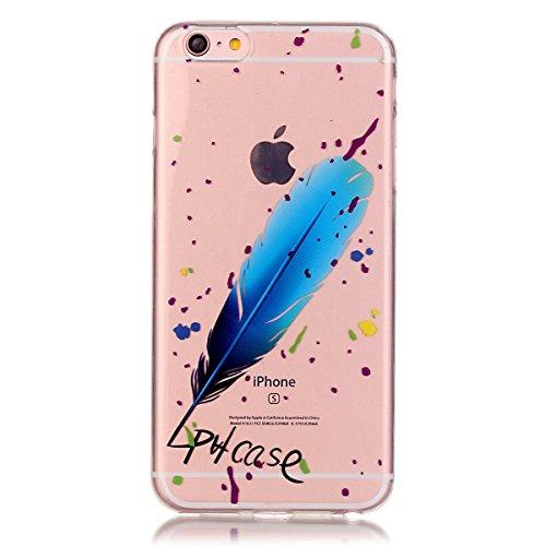 iPhone 6S Plus Coque, iPhone 6 Plus Coque, Lifeturt [ Chaussures à talons hauts ] Housse Anti-dérapante Absorbant Chocs Protection Etui Silicone Gel TPU Bumper Case pour iPhone 6S Plus/6 Plus E02-Blue Feather