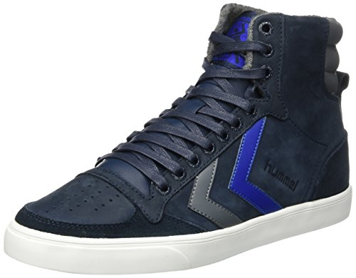 Hummel Unisex-Erwachsene Slimmer Stadil Duo Oiled High Hohe Sneaker, Blau (Total Eclipse), 47 EU (Schuhe, Erwachsenen Lifestyle-schuhe)