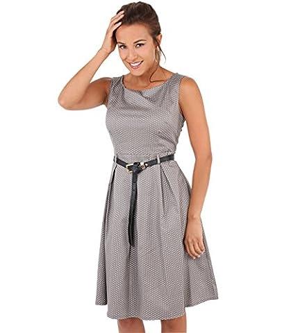 KRISP Damen Vintage Kleid Gepunktet_(7045-MOC-12)
