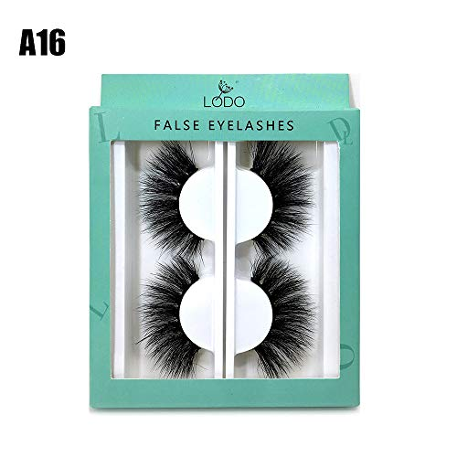 2 Pairs Hanmdade Fluffy Wispies Dramatic False Eyelashes Eye Lash Extension 25mm Lashes 6D Mink Hair(A16,A16) Criss Cross Trim