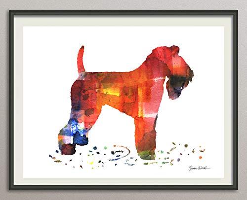 kerry blue terrier Rasse Hunde Hunderasse Fine Art Print Aquarell Silhouette Profil Poster Kunstdruck Plakat modern ungerahmt DIN A 4 Deko Wand Bild - Blue Galerie