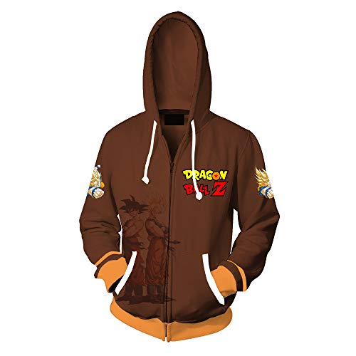 RJHWY 3D Hoodie Sweatshirt Unisex Pullover Kapuzenjacke Kleidung Mantel Reißverschluss Dragon Ball Z Goku XXXL (Kostüme Z Ball Mädchen Dragon)