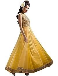 Special Mega Sale Festival Offer C&H Yellow Designer Semi-Stitched Anarkali Suits
