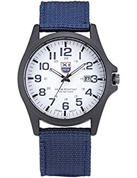 FEITONG Männer Datums Edelstahl Militär im Freiensport analoge Quarz Armee Armbanduhr Blau