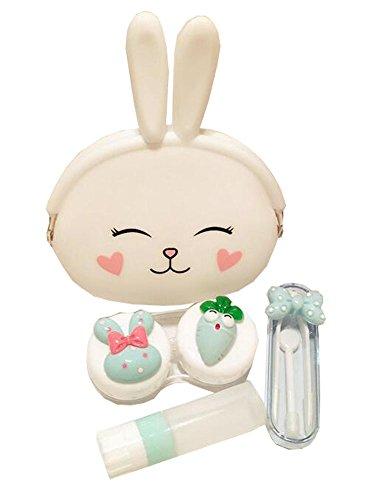 Karikatur-weißes Kaninchen-Kontakt-Objektiv-Fall-gesetztes (Objektiv Weiß Kontakt)