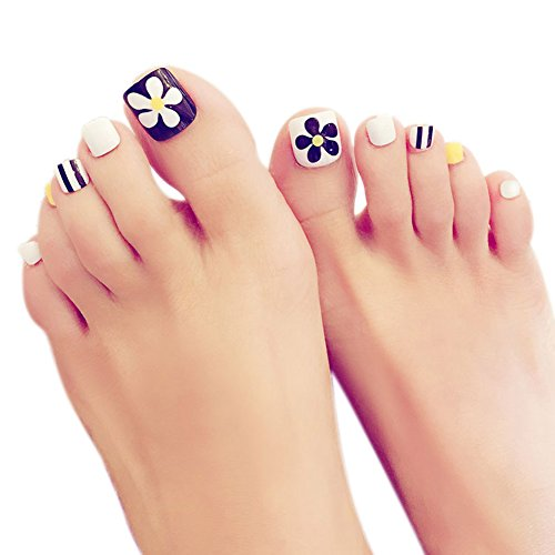lzn 24 Teile / satz Künstliche Fußnägel Zehennägel Schönheit Toe Nails Tipps Toe Feet Falsche volle Nagelspitzen Maniküre-Kits