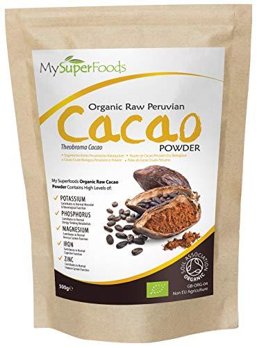 Bio Kakaopulver (500g) | MySuperFoods | Lecker und gut für Sie | Reich an Mikronährstoffe | Organisch zertifiziert | Antike Maya gesundes Lebensmittel | Ideal für süße Belohnungen
