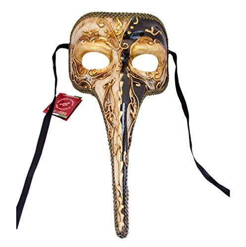 Handgefertigte venezianische Maske Lange Nase Ballmaske, Fasching Herren (N10) (Lange Maske Venezianische Nase)