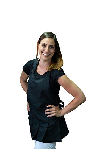 tessile astorino Schürze Frau, Bleichen, für Friseur und Kosmetikerin, Bar, Haarschnitt Friseur, Restaurants, Kneipen, für Frauen, schwarz, Made in Italy - Tunika Chef Mantel