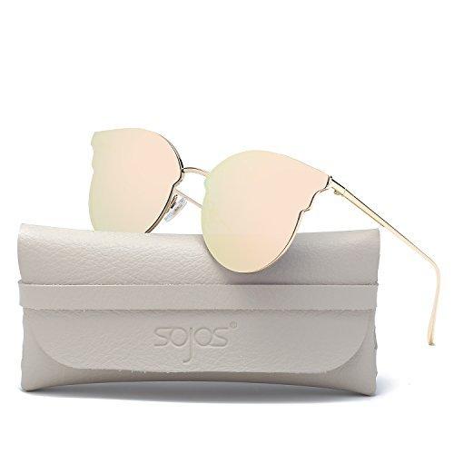 SOJOS Occhiali da Sole 2018 Donna Rotondi Retro Vintage Grandi Occhi di Gatto Montatura Metallo SJ1055 Oro/Rosa Specchio con Scatola