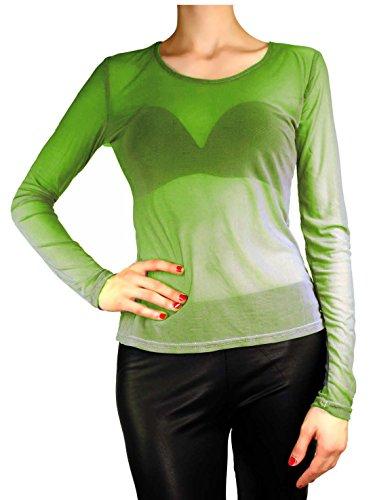 Damen Vintage Transparent Tüll Langarm Tunika / Form Shirt S M L Oliver-Grün
