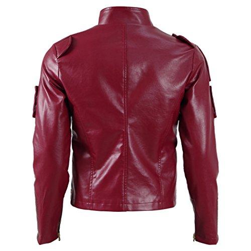 QianQian Herren Steampunk Mantel PU Pleather Motorrad Rot Jacke Cosplay Kostüm Rot
