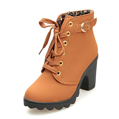 VJGOAL Damen Stiefel, Damen Mode High Heel Lace up Stiefeletten Damen Schnalle Winter Warm Platform Wedges Schuhe (Gelb, 36 EU)