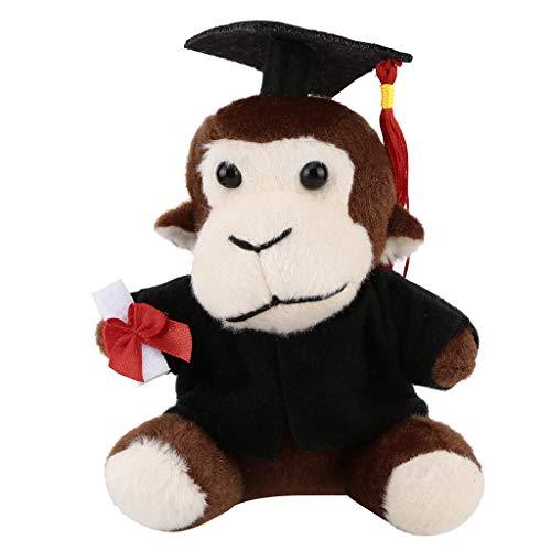 Myfilma ◔◡◔ Geschenke für Sie jetzt Klasse von 2019 Plüsch-Abschlussspielzeug mit Hut, Hund/Ente/AFFE/Panda/Frosch-Cartoon-Plüschtier - Womens Affe