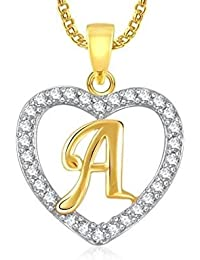 Enchanting Gold Plated Alphabet 'A' Letter Heart Pendant Locket With Chain For Men And Women/Boys & Girls