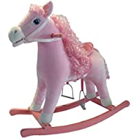 The Rocking Horse Co. - Pink Rocking Horse - Plush Finish - Complete with Sounds - On solid wood rockers