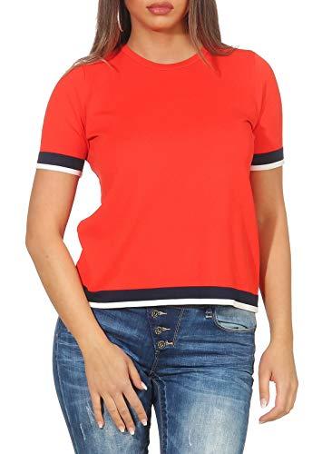 ONLY Damen onlNOLA S/S KNT Pullover, Rot (Mars Red Detail: W.Night Sky/Cloud Dancer), 38 (Herstellergröße: M) -