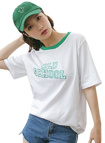 Azbro Women's Short Sleeve Letter Printed Casual Tee green