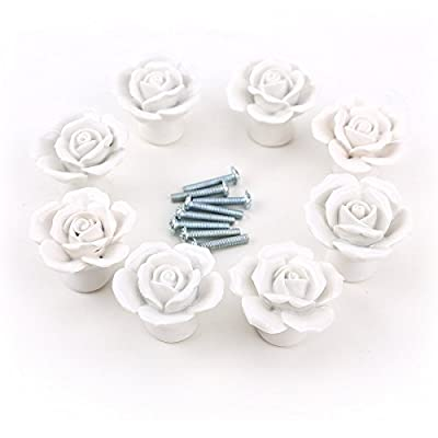 Dproptel Ceramic Vintage Floral Rose Door KnobS