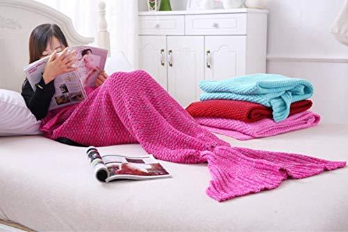 Kai&Guo 180 * 80cm und 60 * 140cm gehobener Außenhandel Meerjungfrau Decke Meerjungfrau Schwanz Stricken Decke Winter Sofa Decke, Q, 180x80cm - Stricken-krankenhaus-bett