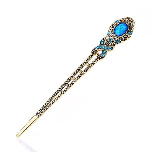 Epingles à cheveux Bronze Piques Antique de Diamant artificiel de motif de Papillon Accessoires à chignons (couleur Bleu)
