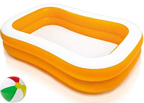Aufstellpool aufblasbarer Family Familien Pool Planschbecken Kinderpool Kinderplanschbecken Schwimmbecken Aufblaspool für Kind Kinder Erwachsene Terrasse Balkon Garten Größe ca. 229x147x46 cm Orange