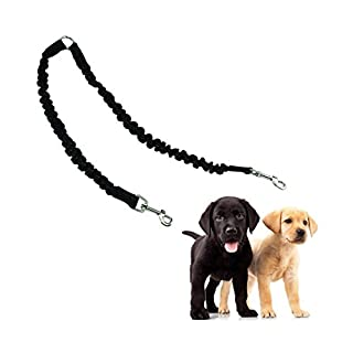 ADOGO Double Dog Lead No Tangle Bungee 2 Dog Leash Coupler Splitter for Walking 1-2 Dogs,Black