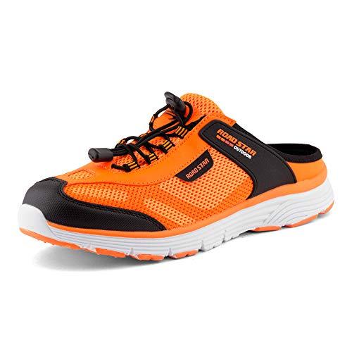 Fusskleidung Damen Herren Sabot Sneaker Sportschuhe Slip-On Clogs Pantoletten Freizeit Sandalen Schwarz Orange EU 42