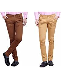 Nimegh Maroon and Wine Color Cotton Casual Slim fit Trouser For Men's (Pack Of 2)