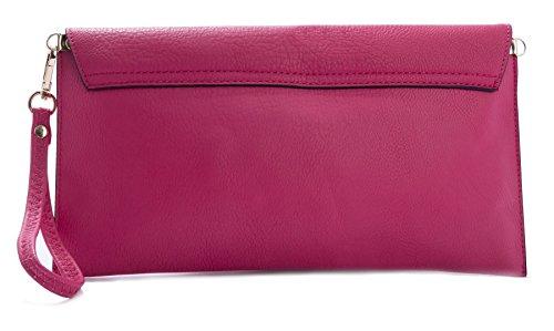 Big Handbag Shop - Borsetta senza manici donna (Metallic Grey)