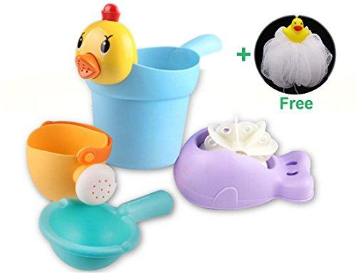Sprinkler-ente (Baby Badespielzeug HOWATE Ente Form Sprinkler Bad Ball Kunststoff Waterwheel 5 Pack für Kinder Kleinkinder Bad Zeit Spaß Spielzeug)