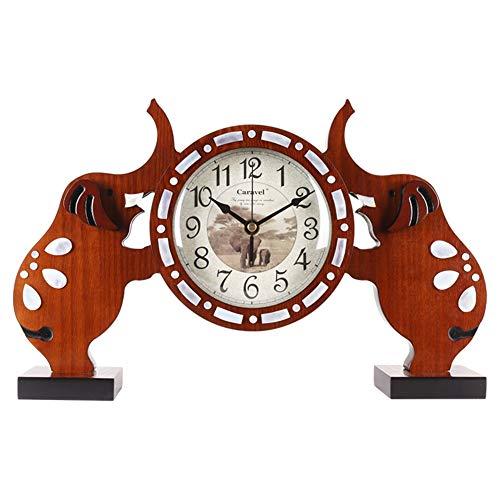 Li-lamp Tischuhr, Seiko Kleine Elefant Tischuhr Holz Stumm Wohnzimmer Kaminsims Schlafzimmer Bedside Time Clock Art Decor Uhr