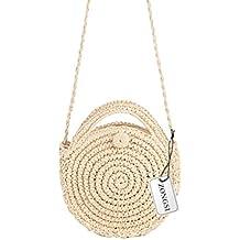 Zongsi Paille ronde sac de plage été mini sac à bandoulière à la main Vintage cercle rotin sac petit sac à bandoulière Bohème pour les femmes LOW0Ia4