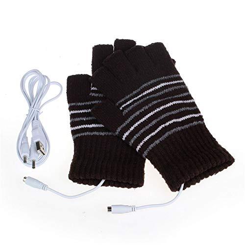 Unisex USB Alimenté Rayé Tricot Coton Chauffage Chauffe Gants Sans Doigts Chauffe-Mains Gants Moufles Ordinateur Portable Gants D'Hiver (Café)