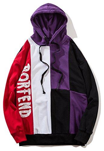 Pizoff Unisex Hip-Hop Langarm Kapuzenpolluver - mit Coolem Design und tifer Schalternaht abgenähtem Design AL085-purple-XL