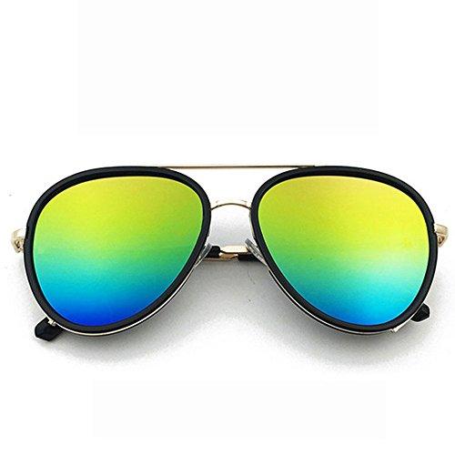 GHCX Mode-Sonnenbrille-Hipster-kreativer Flieger-Frosch-Spiegel-Damen-UVschutz Polarisierte Linsen-Metallbeiläufiges Radfahren Blending Buntes Marine,G-OneSize