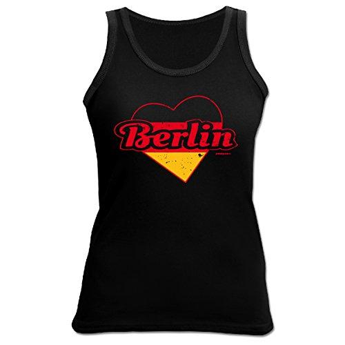 Damen Tank Top Städte / Bundesländer / Regionen : Berlin -- Goodman Design Städtenamen Funshirt Farbe: schwarz Schwarz