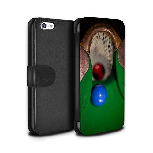 Stuff4 Coque/Etui/Housse Cuir PU Case/Cover pour Apple iPhone 5C / Boul Blanc Design / Snooker Collection Boul Bleu/Rack