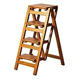 LXF Stehleitern Hölzerner faltender Tritthocker, faltbarer Mehrzweckleiter-Stuhl-Sitz für Küche, breiter Pedal-Ausstellungsstand (Farbe : 4 Tier)