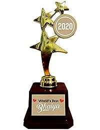 Yaya Cafe Birthday Gift for Brother, Worlds Best Bhaiya Trophy Award - Star Golden