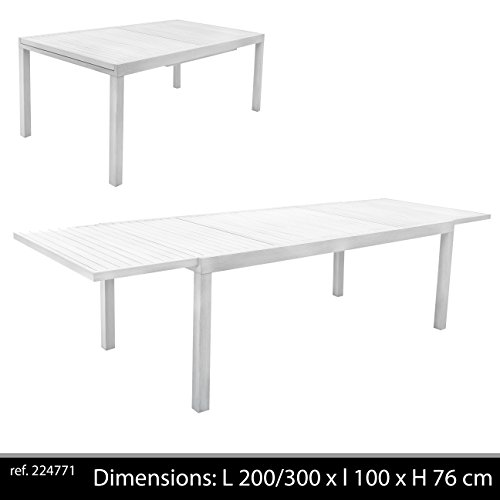 Table Rectangulaire Hawai 200/300 x 100 x 76 cm