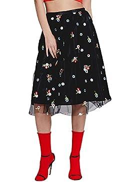 Quge Mujeres Falda De Tul Corta Midi Cintura Elástica Bordado Floral 2 Capas Faldas