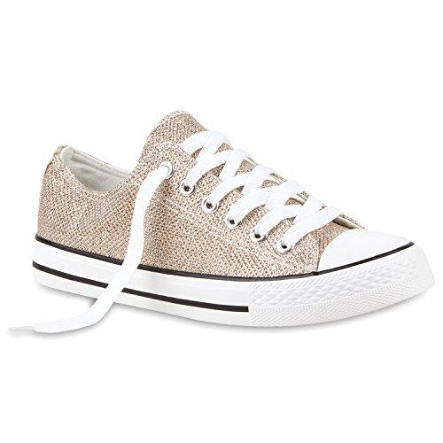 Damen Sneakers Turn Freizeit Low Sneaker Übergrößen Prints Glitzer Denim Schuhe 114909 Gold 37 Flandell