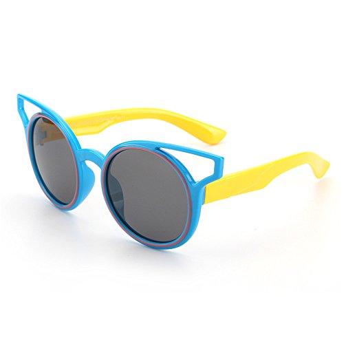 Sonnenbrillen Mode Persönlichkeit Kids Polarized Sonnenbrillen Weiche und komfortable UV400 Schutz Reflektierende Linsen für Mädchen und Jungen im Alter von 3 bis 12 mit Geschenkbox ( Farbe : Blau )